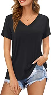 Amoretu Womens Tshirts V Neck Short Sleeve Summer Tops Blouse
