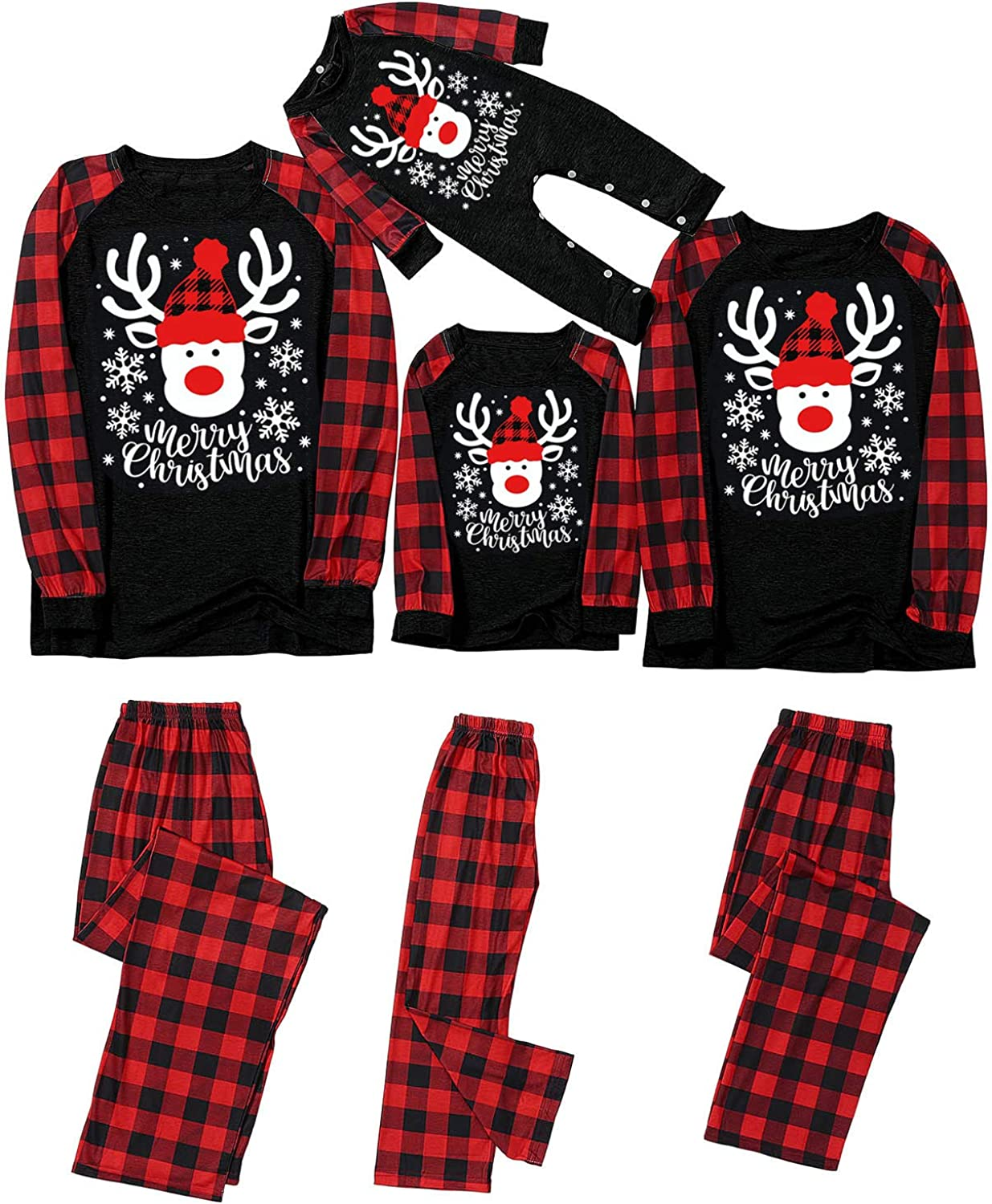 Xiangdanful Christmas Pajamas for Family Matching Outfits Long Sleeve Red Plaid Print Tops Pants Pjs Sleepwear Sets 1