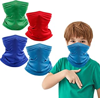 4 Pcs Reusable Kids Neck Gaiter Balaclava, Washable Half Face Protective Cover Bandana for Outdoor