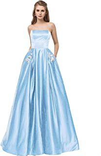 Libaosha Women's Strapless Formal Gowns W/ Beaded Pockets Lace Up Back Prom Dress Long
