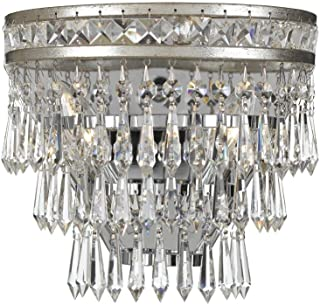 Crystorama 5261-OS-CL-MWP Crystal Two Light Wall Sconce from Mercer collection in Pwt, Nckl, B/S, Slvr.finish,