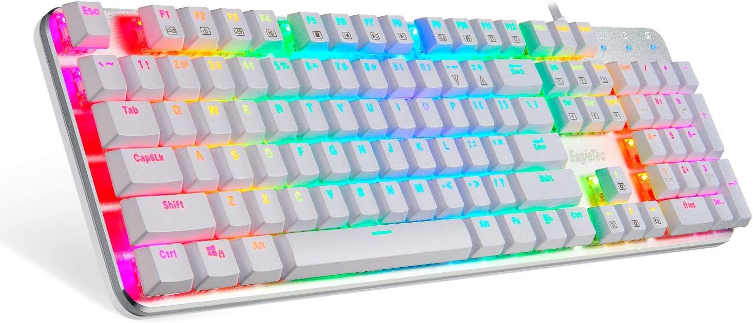 EagleTec KG051-BR RGB Backlit Mechanical Gaming Keyboard Low Profile Mechanical Gamers Keyboard 104 Key Metal Mechanical Computer USB Gaming Keyboard for PC Quiet Cherry Brown Switches (WHITE VERSION)