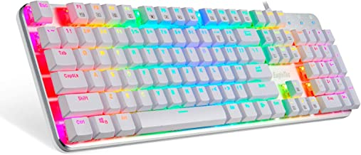 EagleTec KG051-BR RGB LED Backlit Mechanical Gaming Keyboard, Low Profile 104 Key USB Keyboard with Quiet Cherry Brown Switches for PC Gamer - (White RGB LED Backlit)