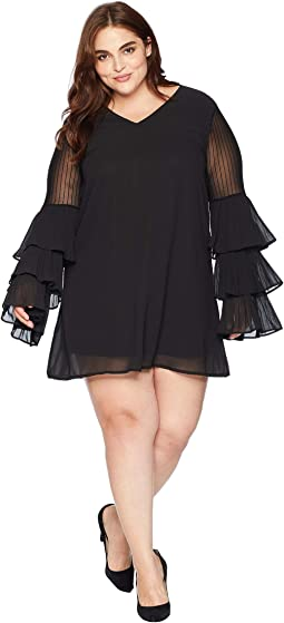 Plus Size Oriana V-Neck Ruffle Sleeve Dress