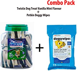Twistix - Rena Dog Treat, Vanilla Mint, 50 Count and Petkin Doggywipes, 15 Count