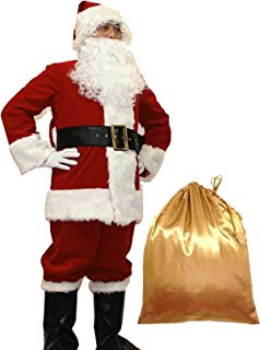 WHOBUY Men's Deluxe Santa Suit 10pc. Christmas Adult Santa Claus