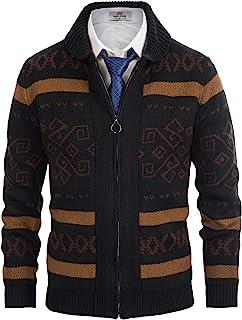 Men's Shawl Collar Cardigan Zip up Icelandic Jacquard Knitted Sweater Coat