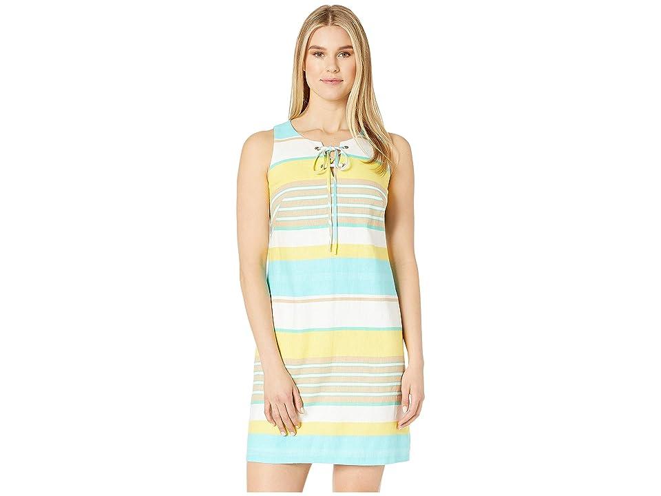 London Times Linen Rayon Shift Dress w/ Lace-Up Detail (White/Lemon) Women
