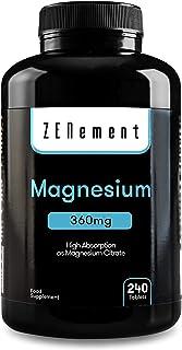 Magnesio, 360 mg, 240 Compresse   mantiene sane le ossa, sostiene la funzione muscolare e il sistema nervoso   di Zenement