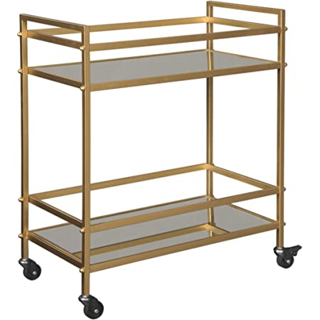 Amazon Com Safavieh Silva Bar Cart Rose Gold Mirror Furniture Decor