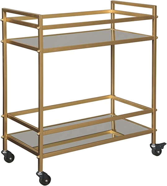 Ashley Furniture Signature Design Kailman Bar Cart Mid Century Style 2 Shelves With Casters Antique Gold Finish