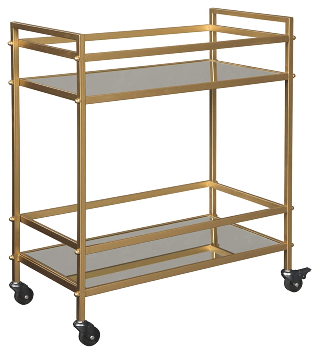 Ashley Furniture Signature Design - Kailman Bar Cart - Mid Century Style - 2 Shelves with Casters - Antique Gold Finish