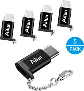 USB Type C Adapter 5Pack Ailun USB C to Micro USB Convert Connector Compact with Keychain Sync and Charge for Galaxy S10 Plus Note 10 MacBook ChromeBook Pixel Nexus 5X and Other Type C Port Devices