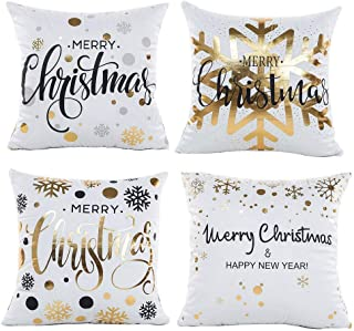 Gspirit 4 Pieces Throw Pillow Covers Christmas, Decorative Square Pillowcases Cushion Cover Couch Cotton Linen for Living ...