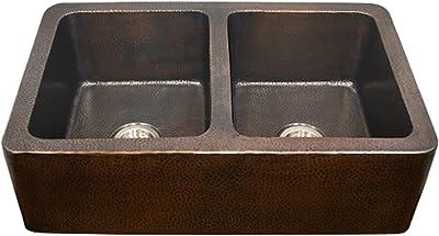 Houzer HW-COP12 Hammerwerks Series Apron Front Farmhouse Copper 50/50 Double Bowl Kitchen Sink, Antique Copper