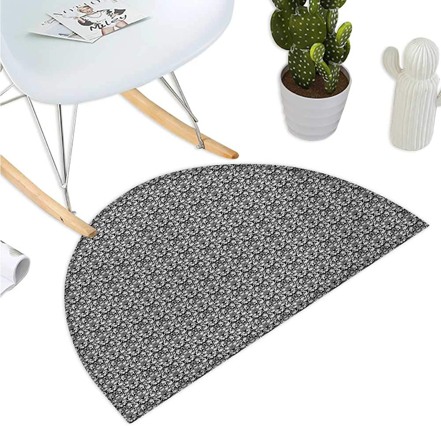 Black and White Semicircular Cushion Scroll Curly Leaves and Petals with Swirl Details Monochrome Design Entry Door Mat H 43.3  xD 64.9  Black and White