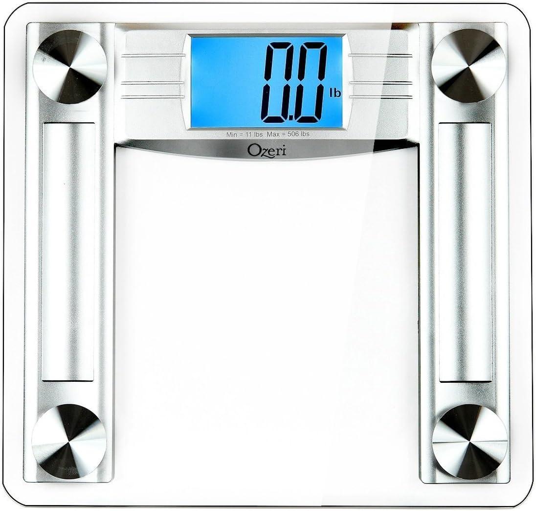 Ozeri Báscula Digital de baño ProMax 230 kg, con Cinta métrica y calibrador de Grasa Corporal