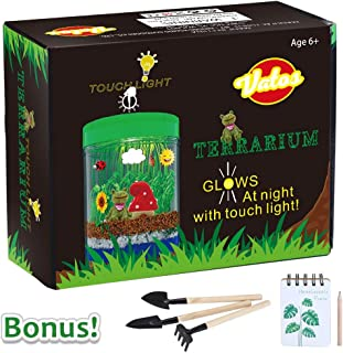 VATOS Terrarium Kit for Kids Light-up Kits with LED Grow Light, Growing Kits in a Jar for Kids Boys & Girls Gifts for Ages 3 -12 | STEM Science Toys Planting Ecosystem Kits, Kids Educational Toys