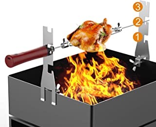 Automatic BBQ Rotisserie Kit, Battery Powered Roasting Sticks Smart Rotating Skewers for Grilling Marshmallow, Hot Dog, Chicken, Steak | 17 inch Stainless Spit Rod with 2 Spit Forks and Brackets