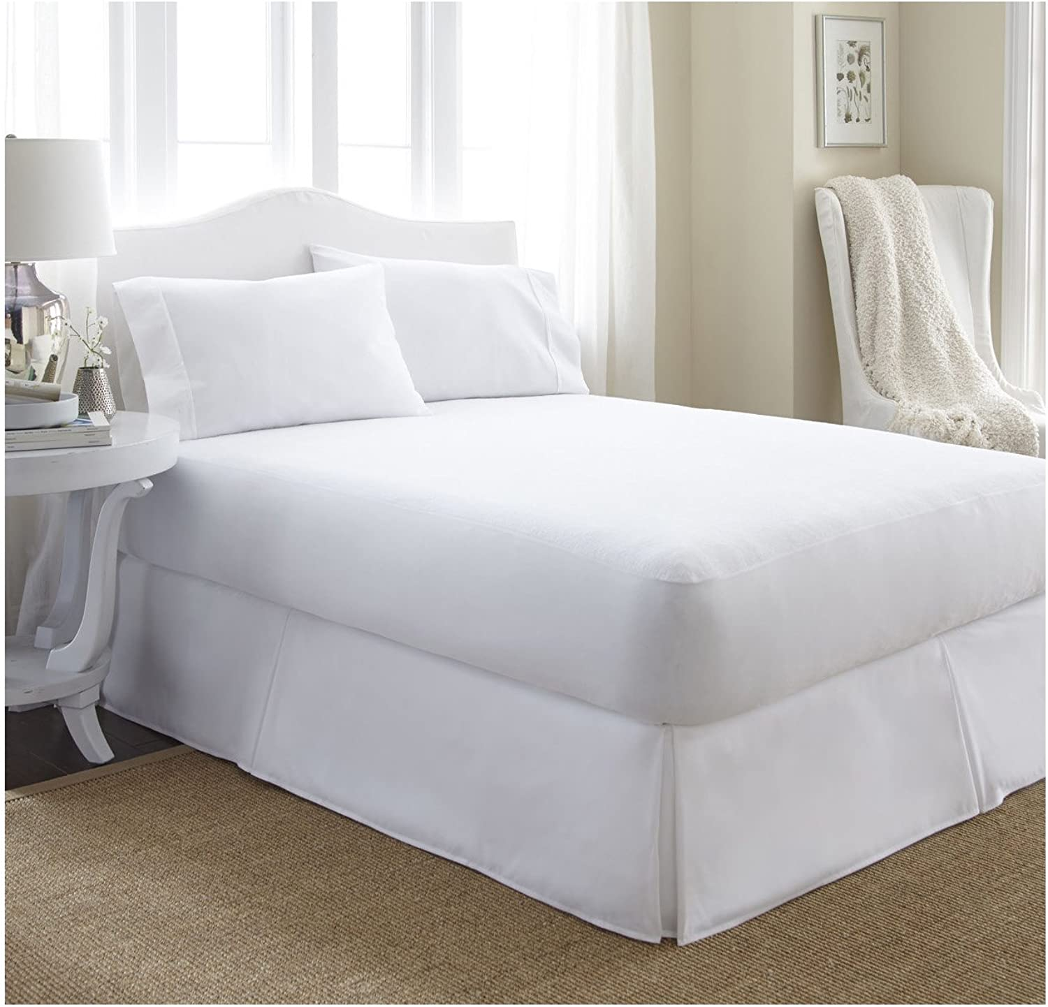 Ienjoy Home IEH-MATTRESSPred-CALKING Home Collection Premium Luxury Terry Cotton Waterproof Mattress Predector, California King, White