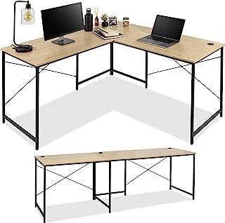 بهترین محصولات انتخابی 94.5in Desk L-Shaped Modular ، Workstation Computer Corner ، Table Study Long 2 Person for Home، Office w/Adjustable Legs، 200 lb. Capacity، Customizable Setup-Oak/Black