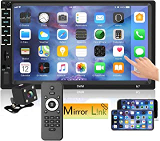 """7"""" Car Stereo Touch Screen Car Audio Receiver Double Din FM Radio Bluetooth Video,Remote Control MP5/4/3 Player Phone Mirror Link USB/SD/AUX Hands Free Calling with Camera"""