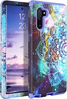 GUAGUA Galaxy Note 10 Case Samsung Note 10 Case Mandala Flowers Floral Shockproof Protective Hybrid Hard PC TPU Cover Bumper Space Nebula Stars for Samsung Galaxy Note 10 5G 6.3-inch SM-N970 Purple