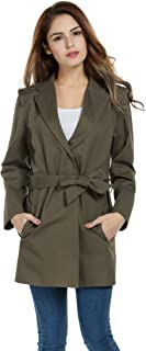 Meaneor Women Vintage Lapel Long Sleeve Solid Long Trench Coat with Belt