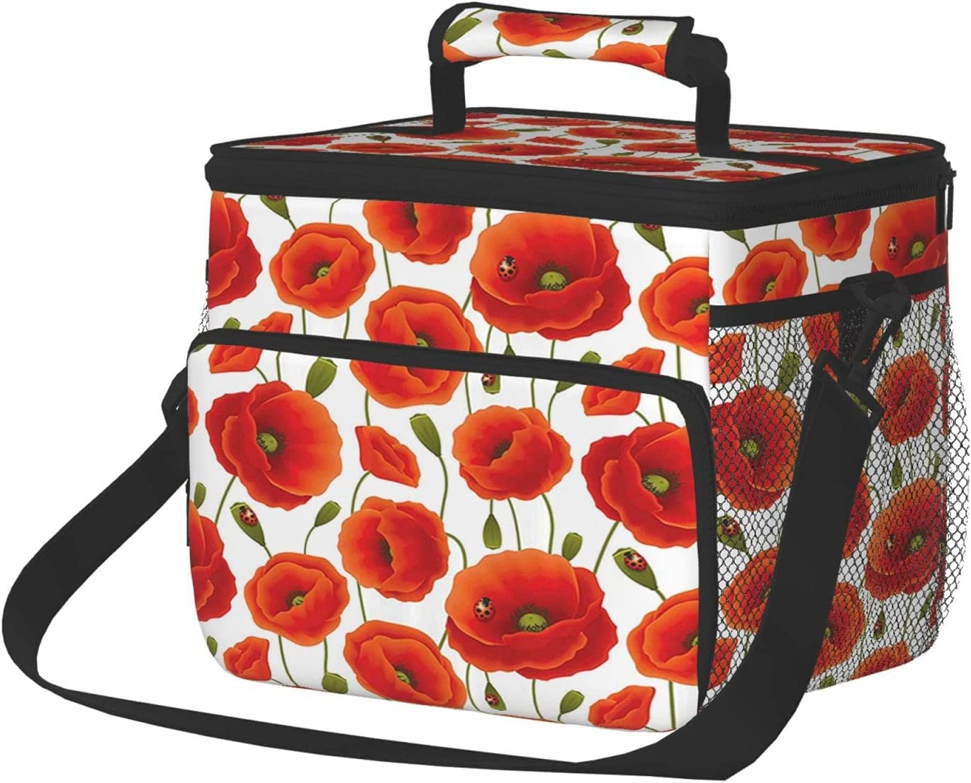 Large Insulated 35% OFF Lunch Box For Men Jacksonville Mall Of Women Floral Poppy Pattern