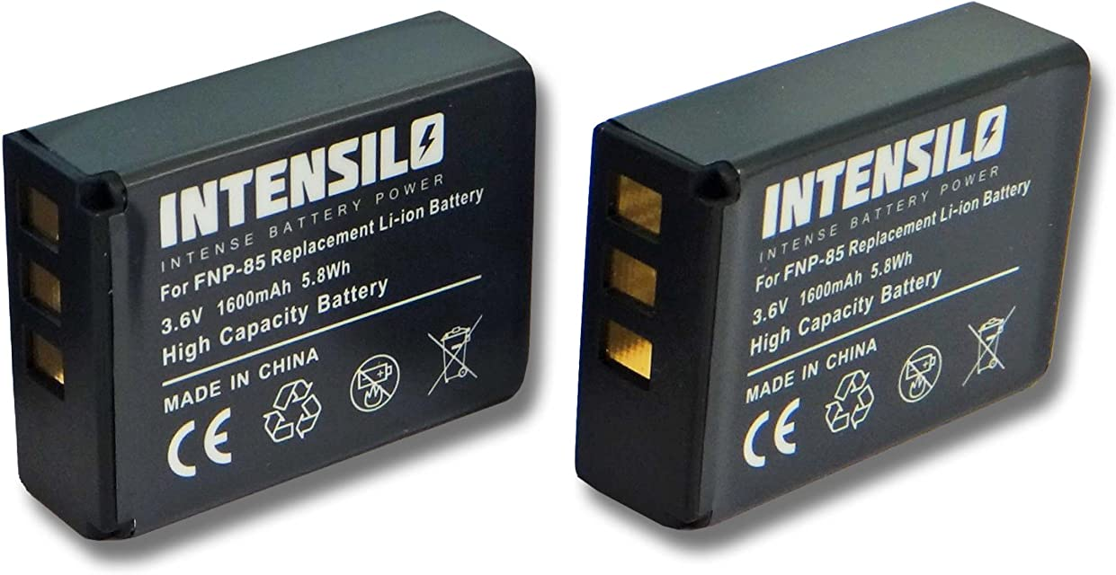 INTENSILO 2x Li-Ion batería 1600mAh (3.6V) para videocámara cámara de video Toshiba Camileo X200 X400 X416 HD X416HD Z100 por NP-85 CB170 PA3985