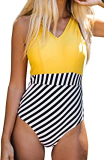 CUPSHE Women's Yellow V Neck and Striped Bottom One Piece Swimsuit