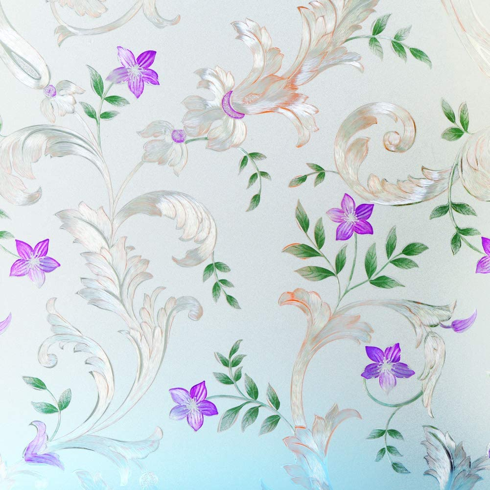 Decorative Window Film Etched Floral Static Ranking TOP7 Cl Door Some reservation Privacy