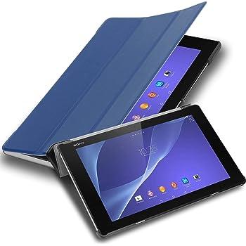 """Cadorabo Tablet Hülle für Sony Xperia Tablet Z2 (10.1"""" Zoll) SGP521 in Jersey DUNKEL BLAU – Ultra Dünne Book Style Schutzhülle mit Auto Wake Up und Standfunktion aus Kunstleder"""