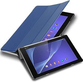 Cadorabo Tablet-fodral för Sony Xperia Tablet Z2 (10,1 tum) SGP521 i jersey DUNKLA BLÅ – ultratunn bokstil skyddande fodra...