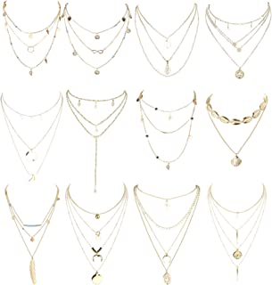 12 Pcs Layered Necklaces for Women Gold Choker Chain Y Necklace Disc Bar Shell Feather Horn Blessed Virgin Mary Pendant Necklace Sets