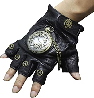 1 Pair SteamPunk Vintage Gears with Watch Leather Gloves Cosplay