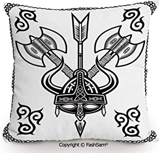 FashSam Home Super Soft Throw Pillow Helmet with Horn Arrow Axe Antique War Celtic Style Medieval Battle Art Prints for Sofa Couch or Bed(20