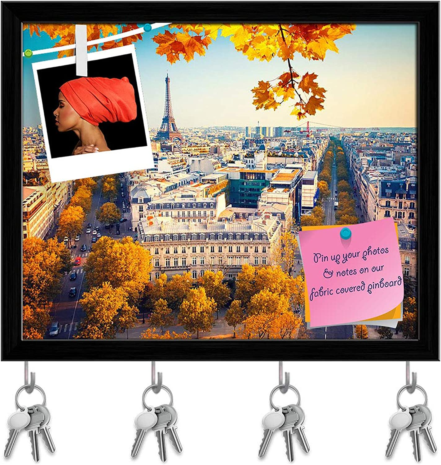 Artzfolio Eiffel Tower at Sunset, Paris, France Key Holder Hooks   Notice Pin Board   Black Frame 19.8 X 16Inch