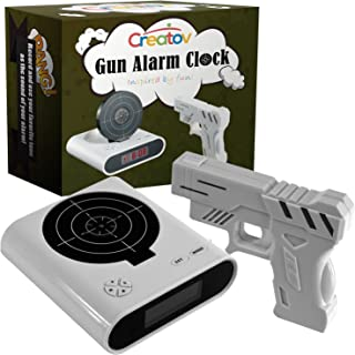 Target Alarm Clock with Gun - Infrared Target and Realistic Loud Sound Effects Fun Pistol Game Clocks for Heavy Sleepers Kids Boys Girls Infrared 0.8 MW White Color by Creatov
