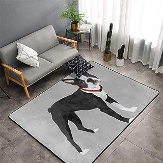 NiYoung Bedroom Living Room Kitchen Extra Large Area Rug Home Art - Boston Terrier Grey Floor Mat Doormats Quick Dry Tub Shower Bath Rug Exercise Mat Throw Rugs Carpet