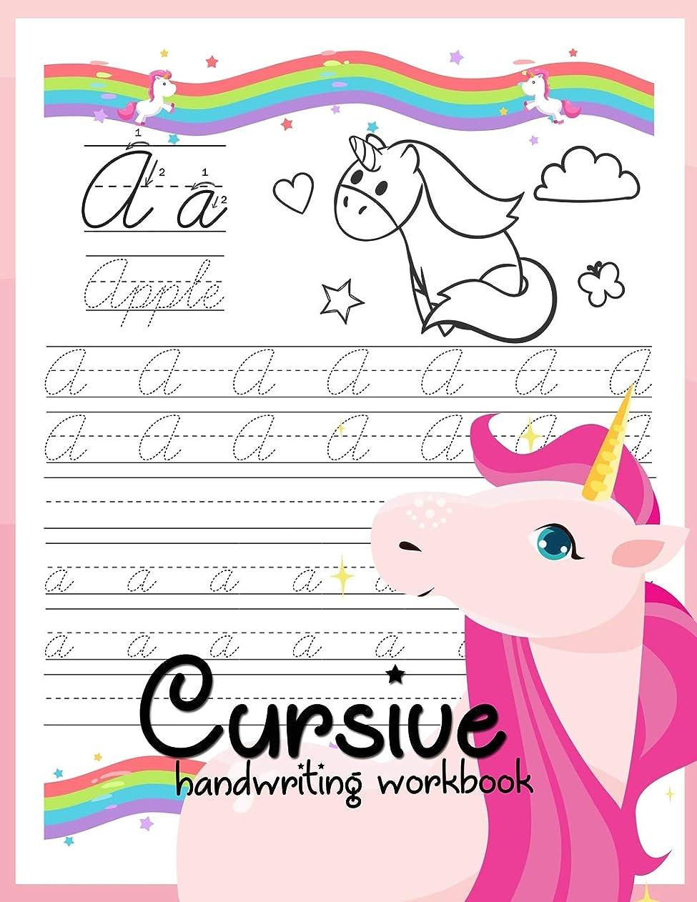 記憶に残る赤字驚くべきCursive handwriting workbook: Unicorn Cursive Writing Practice Book Homework For Girl Kids Beginners How to Write Cursive Alfhabet Step By Step And 104 Word To Practice And 26 Unicorn Coloring