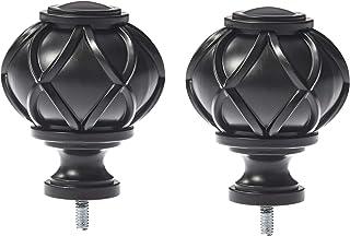 AmazonBasics Round Capped Curtain Rod Finials - Set of Two, Black