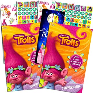 DreamWorks Trolls Stickerland Stickers Set -- Over 590 Trolls Stickers and Separately Licensed Door Hanger (8 Party Sticke...