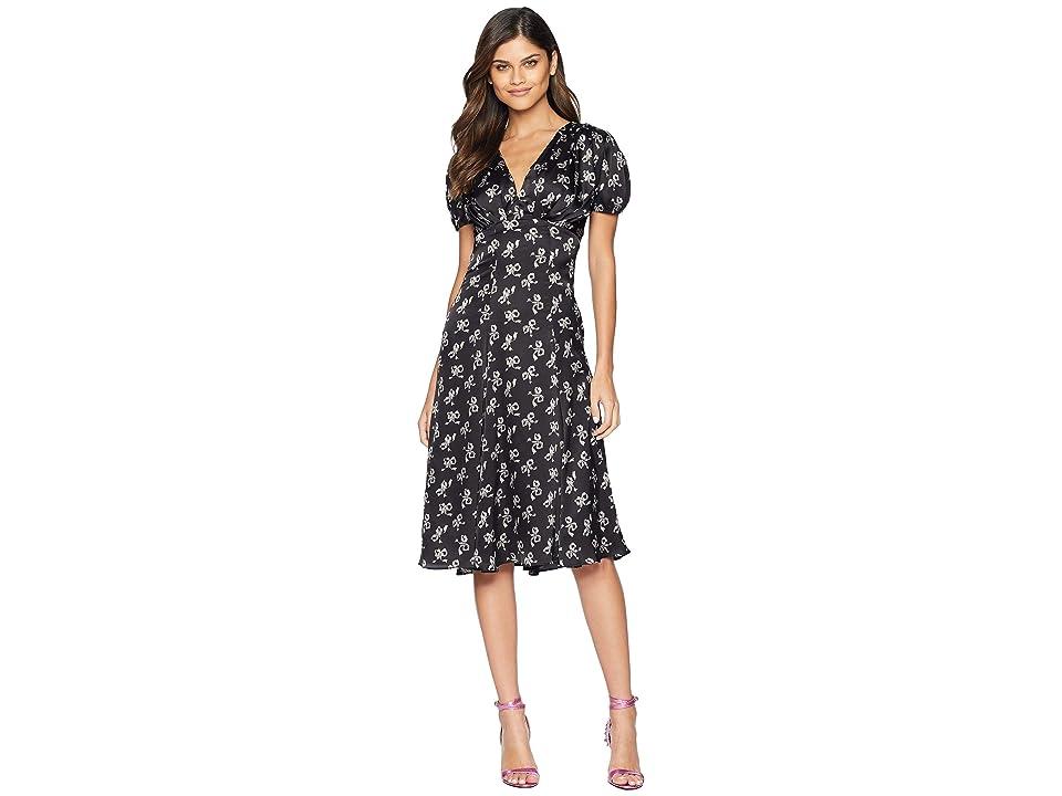 Betsey Johnson Bow Print Maxi Dress (Black/Blush) Women