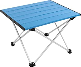 MSSOHKAN Ultralight Camping Portable Aluminum Folding Table,Mini Car Table with Collapsible Table Top,Camping Table with Carry Bag for Picnic,BBQ,Dining. (Blue)