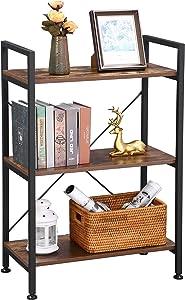 BEWISHOME 3-Tier Bookshelf Small Bookcase Multifunctional Storage Shelves Display Rack for Plant, Books, Photos Furniture for Entryway Living Room Bathroom Bedroom JCJ32Z