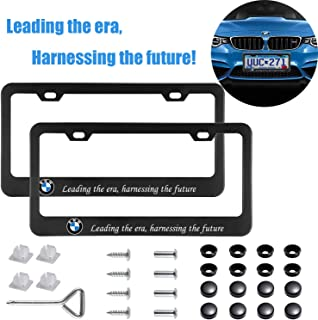 Sparkle-um 2Pcs Newest Matte Aluminum Alloy BMW Logo License Plate Frame,with Screw Caps Cover Set,Applicable to US Standard car License Frame, for BMW.(Black)