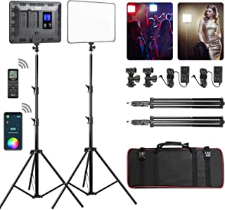 RGB LED Video Light, Full Color Photography Video Lighting Kit with APP and Remote Control, 2 Packs Led Panel Light with S...