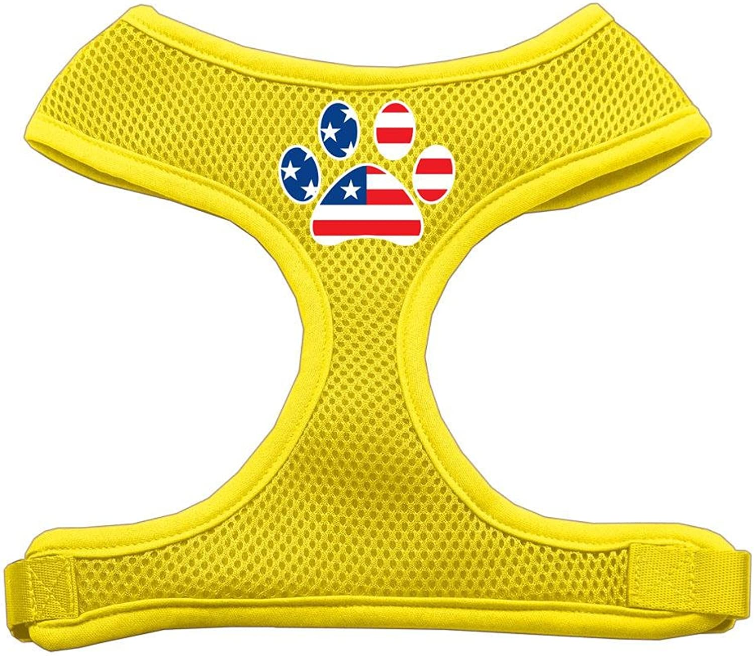 Mirage Pet Products Paw Flag USA Screen Print Soft Mesh Dog Harnesses, Small, Yellow