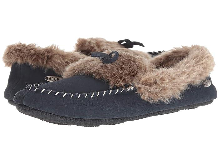 Acorn  Cozy Fur Moc (Mineral Blue) Womens Moccasin Shoes